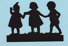 Cricut Silhouette Die Cut - Three Little Children Holding Hands - Baby Die Cuts