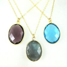"""Bezel Gemstone Oval Pendant Necklace - Gold Plated Chain - All Stones (16-24"""")"""
