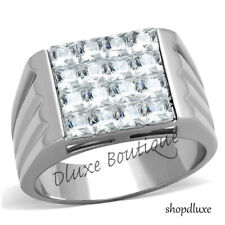 MEN'S ROUND CUT CAPRI BLUE CRYSTAL STONE SILVER STAINLESS STEEL RING SIZE 8-13