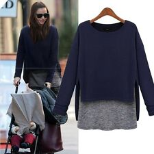 Stylish Loose Women's Girl Faux Twinset Splice Long Sleeve T-shirt Top Tee New