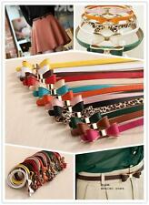 FA US Free Shipping New  Lady PU Faux Leather Bow Long Lank Cute Belt 17 Colors