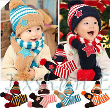 Boy Girl Baby Kid Winter Star Stripe Cap hats + Scarf 2pcs Sets Christmas Gift
