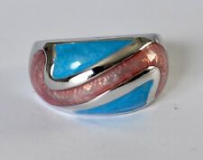 STERLING SILVER ENAMEL GRAFFITO INFINITY DOME COCKTAIL PINK BLUE RING SIZE 7