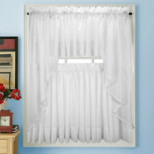 NEW Elegance Voile WHITE Sheer Tier Panel Curtains for Kitchen or Bedroom
