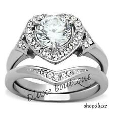 2.75 Ct Halo Round Cut AAA CZ Stainless Steel Wedding Ring Set Women's Size 5-11
