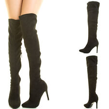 Slouch Cuff Foldable Sky High Stiletto Heel Chunky Platform Over Knee Thigh Boot