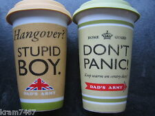 Dad`s Army Stupid Boy & Don`t Panic Travel Mugs Great Gift for Christmas