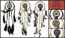 ~TRIBAL BONE DESIGN & BEADED MANDALA DREAM CATCHER~16.5cm Web~60cm Long~