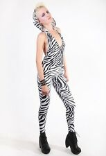 Hooded Zebra Halter Catsuit Spandex Unitard Leotard Jumpsuit Black White Velvet