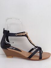 "WOMENS SHOES NEW""ARMOUR""BY NO!SHOES CHIC LOW WEDGE HEEL STRAPPY SANDALS IN BLACK"
