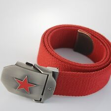 Military Red Star Stainless Steel Buckle Men Webbing Waist Thicken Canvas Belt