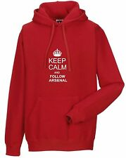 KEEP CALM AND FOLLOW ARSENAL HOODY ALL SIZES AVAILABLE