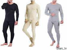 Mens 2pc Thermal Set Long John Underwear Waffle Knit Top and Bottom M L XL 2XL