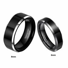 6mm Mens womens Black tungsten Carbide high polished Beveled Edge Band Ring