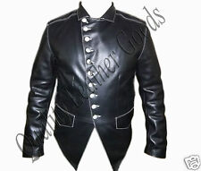 Genuine Handmade Mens Military Style Premium Leather Steampunk Jacket in BLACK