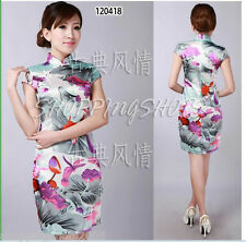 Chinese clothing qipao cheongsam gown Hand-painted lotus dress 120418 size 30-38