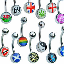 Logo Belly Bars Pick your cartoon picture body jewellery