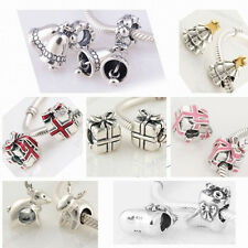 925 Solid Sterling Silver Christmas Gift Bead fit European Charm Bracelet