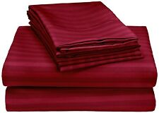 Sale 1000TC 1PC Soft Fitted Sheet Stripe Burgundy 100%Cotton Extra Deep Pocket