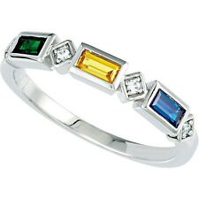 Mothers Stackable Silver Ring 3 Baguette Birthstones, Mom's family Jewelry gift