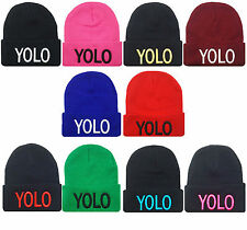 NEW YOLO 3D EMBROIDERY BEANIE SKULL CAP HIP HOP HAT MANY COLORS AVAILABLE