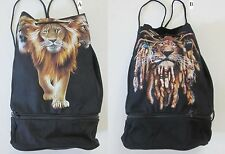 New Lion Drawstring Tote Bag w Zippered Compartment