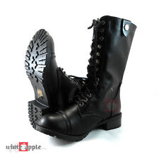 Women Military Army Combat Mid Calf Lace Up Boots Soda Shoes Oralee Black Pu