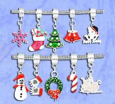 NEW Silver Plated Christmas Xmas Dangle Charm Beads Fit European Charm Bracelets