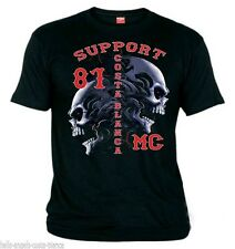 01 Support81 Hells Angels Tribal Scull Black biker T-Shirt  Big Red Machine 1%