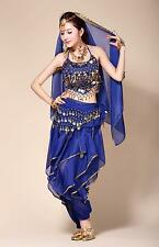 3-in-1 Belly Dance Costume Top+Gold Wavy Pants+338 Coins Hip Scarf US 6 Colors