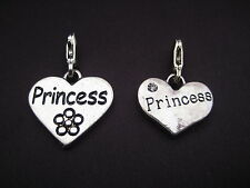 "PICK YOUR PRINCESS CHARM Clip On Silver ""Princess"" Heart Charm or attach to zip"