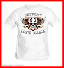 01 Scull Wings White T-Shirt Support81 Big Red Machine 1% Hells Angels Spain 666