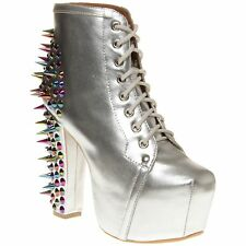 New Womens Jeffrey Campbell Metallic Lita Spike Leather Boots Ankle Lace Up