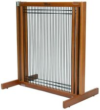 "Dynamic Accents 30"" Kensington Sliding Wood & Wire Dog Pet Gate Barrier Natural"