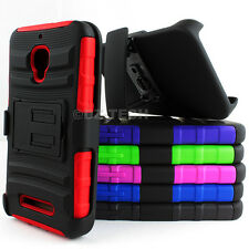 For Alcatel One Touch Fierce 7024W Rugged Hybrid Case Cover Belt Clip Holster