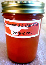 Desmond's Candles Homemade Scented Texas Longhorns (Orange) Soy Jar Candle