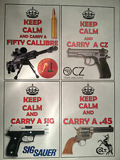 KEEP CALM & `CARRY A GUN` NOVELTY STICKERS, BERETTA, COLT, SIG H&K CZ -20 STYLES