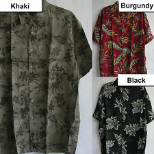 New Mens Hawaiian Tropical Rayon Aloha Rayon Shirts Bamboo Palm Leaf Island Surf