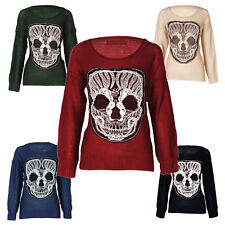 NEW WOMEN'S SKULL  JUMPER LACE GOTH ROCK KNITWEAR CARA RETRO ROCK RIHANNA UK