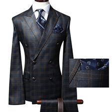 men s suit uk prom wedding tuxedo slimfit double breasted checked plaid suits US