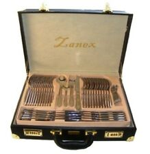 84 PIECE 18/10 STAINLESS STEEL SILVER GOLD DETAIL SUPREME QUALITY CUTLERY SET