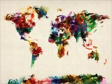 Map of the World Map, Abstract Painting, Art Print Poster - s904