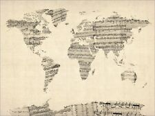 Map of the World Map from Sheet Music, Art Print Poster - s895