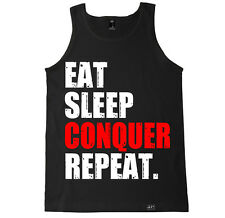 EAT SLEEP CONQUER REPEAT GYM CROSSFIT WORKOUT LIFTING RUNNING YOGA TANK TOP
