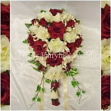 WEDDING BRIDAL TEARDROP TRAILING BOUQUET SILK FLOWERS ROSES IVORY & BURGUNDY