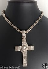 Stainless steel Byzantine chain/bracelet with micro-pave setting cross pendant