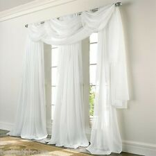 NEW Elegance Voile WHITE Sheer Curtain Panels or Scarf