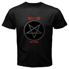 New Motley Crue Pentagram Logo Metal Rock Band Men's Black T-Shirt Size S-3XL