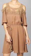 Umgee Anthropologie Timeless Vintage Boho peasant mocha dress + crochet neckline