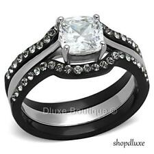 1.85 CT CUSHION CUT CZ BLACK STAINLESS STEEL WEDDING RING SET WOMEN'S SIZE 5-11